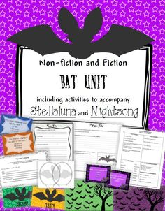 Non-fiction and fiction activities bat themed activities.  Includes original non-fiction passage with questions, quotes and activities to go with Stellaluna and Nightsong- Yay for cute activities for middle elementary students!