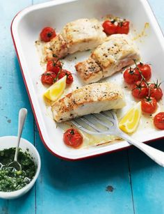 Hake with tomatoes and cucumber salsa verde. This delicately flavoured dish takes just 15 minutes to make as well as being good for you. Whole30 Fish Recipes, Easy Fish Recipes, Organic Recipes, Vegetarian Recipes, Healthy Recipes, Ethnic Recipes, Healthy Dinners, Yummy Recipes, Hake Recipes