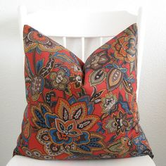 Decorative pillow cover - Throw pillow - 22x22 - Tangerine tango - Red - Orange - Blue - Brown - Green - Floral. $50.00, via Etsy.