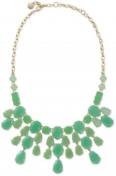 Stella & Dot Linden Necklace - Green Leap into Spring with this vibrant necklace. Tonal hues of green in custom blended hand set stones set in brass casting.