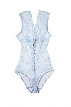 "Sonata Rapalyte x Anya Lust Lace ""Lola Sky"" Bodysuit,"