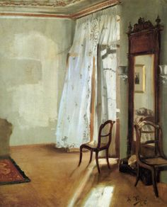 ◇ Artful Interiors ◇ paintings of beautiful rooms - Adolph von Menzel:  Das Balkonzimmer (1845)