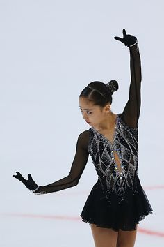 Fabulous rhinestone pattern on this figure skating dress! So Hyun An of Korea competes during the Ladies Short Program on August 2015 in Bratislava, Slovakia. Figure Skating Competition Dresses, Figure Skating Outfits, Figure Skating Costumes, Figure Skating Dresses, Dance Outfits, Dance Dresses, Dance Costumes Lyrical, Skateboard Girl, Beautiful Costumes
