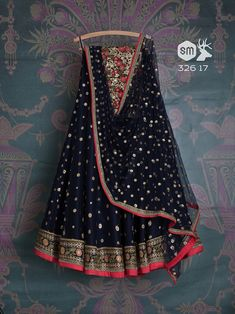 Persian blue lehenga by Swati Manish Half Saree Designs, Lehenga Designs, Churidar Designs, Designer Bridal Lehenga, Bridal Lehenga Choli, Indian Attire, Indian Outfits, Indian Wear, Indian Dresses