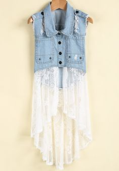 To find out about the Blue Lapel Ripped Denim Contrast White Lace Dress at SHEIN, part of our latest Dresses ready to shop online today! Altered Couture, Denim Vests, Mode Jeans, Denim Ideas, Denim Crafts, Denim And Lace, Recycled Denim, Dress Picture, Ripped Denim