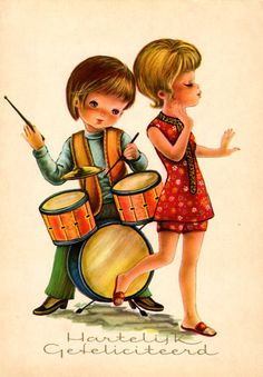 Mod girl and boy playing music with the drums.