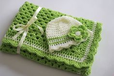 Crochet Baby Blanket / Afghan and Hat, Green Cream Granny Square  Baby Shower Gift.