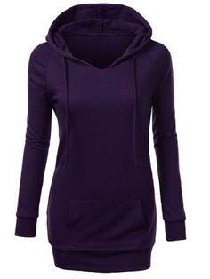 Trendy Hooded Long Sleeve Solid Color Pocket Design Women's HoodieSweatshirts & Hoodies | RoseGal.com