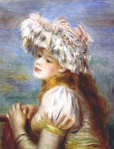 Young Girl in a Lace Hat by Renoir