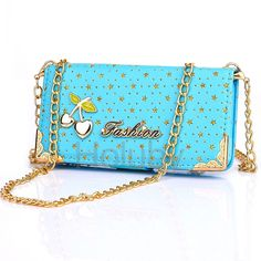 Cherry Series Wallet Style Magnetic Stand TPU + PU Leather Case for iPhone 5 5S SE with Hand Chain Blue