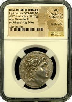 Lysimachus Silver Tetradrachm NGC About Uncirculated - ancient coin Ancient Roman Coins, Ancient Romans, Coining, Coin Dealers, Ram Horns, Ancient Persian, Athena Goddess, Gold And Silver Coins, Coins For Sale