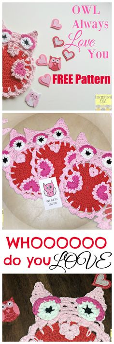 Free Crochet Pattern! Crochet Owl Dishcloth. Can also be used as a hotpad or trivet #IntertwinedArt