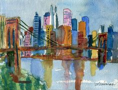 This fine art print of New York city skyline pictures the Brooklyn Bridge in #watercolor #nyc collect this! http://www.imagekind.com/Brooklyn-Bridge-Impressionistic-New-York-City-Sky_art?IMID=89125f06-7800-46ae-870e-c25af4365fc6