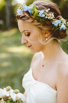 Fresh Floral Bridal Crown Of: Light Blue Delphinium + White Waxflower