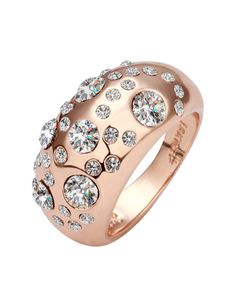 #AdoreWe #VIPme Rings - 1618 Rose Gold Zircon Inlaid Ring - AdoreWe.com