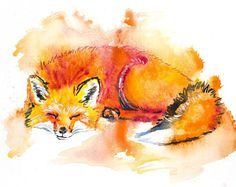 Fox Watercolor Print 1, prints, digital prints, wall art, home décor, wall décor, giclee, watercolor painting, watercolor,