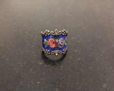 Excited to share the latest addition to my #etsy shop: Vargas Guilloche Enameled Cigar Band Ring / Roses / Floral / Leaves / Flowers / Size 4 3/4 http://etsy.me/2DBsZqz #jewelry #ring #blue #floral #silver #women #midcentury #vargasring #sterlingsilver