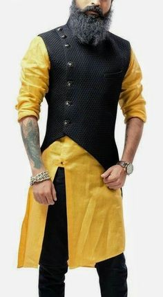 Yellow and Black Asymmetrical Style Kurta with Jacket is part of Indian men fashion - Original Product Yellow and Black Asymmetrical Jacket with Kurta is Asymmetrical Style Churidar Kurta with Jacket with Plain Mens Indian Wear, Mens Ethnic Wear, Indian Groom Wear, Indian Men Fashion, Indian Man, Mens Fashion Suits, Men Wedding Fashion, Man Fashion, Wedding Men