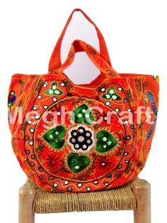 611b8155f5 Mirror Work handbag- Kutch Tote HandBag - Aari Design Embroidery Tote  HandBags Fringe Handbags