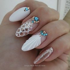 Must Try Classy Glitter Almond Acrylic Nails In 2017 – ILOVE Must Try Classy Glitter Almond Acrylic Nails In 2017 – ILOVE,Nail art The almond nail is a beautiful shape. Fancy Nails, Diy Nails, Cute Nails, Glitter Nails, Gold Glitter, Long White Nails, White Nail Art, White Nail Designs, Nail Art Designs