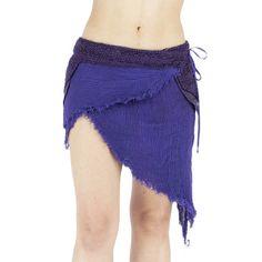 Purple tribal pixie gauze and crochet skirt, pixie, festival trance, amazone, burning man, mad max, primitive, wild, faun, forest, jungle