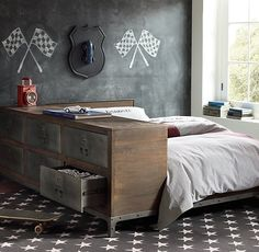 RH baby&child's Industrial Locker Side Storage Bed:Factories from all eras strive for efficiency. Our sturdy side locker bed does too, packing maximum usefulness into a minimum of space. It combines a platform bed with an attached side dresser that's styled like a vintage locker.