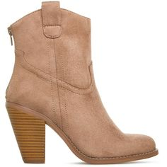 ShoeDazzle Booties Jordean Womens Beige/Brown ❤ liked on Polyvore featuring shoes, boots, ankle booties, booties, mid calf booties, cowboy booties, brown cowboy boots, brown cowgirl boots and brown mid calf boots