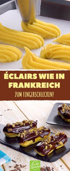 Fast … Original French Éclairs with pudding filling and chocolate glaze. Almost too nice to eat! Pudding Desserts, Pudding Recipes, Cake Recipes, Dessert Recipes, Torte Au Chocolat, Famous Desserts, French Pastries, Mini Cakes, Muffins