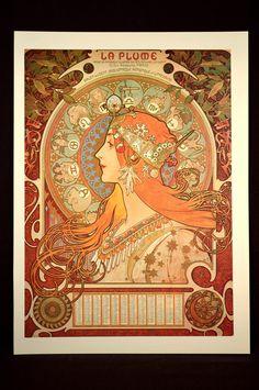 French Wall Art Mucha Poster Print Art Nouveau Style