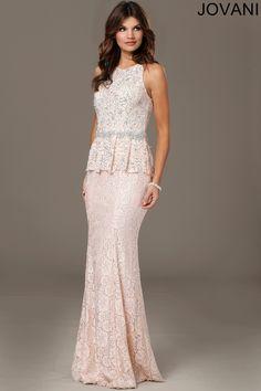 Pink Lace Peplum black tie Dress 24311