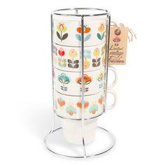 4 tazze vintage in maiolica a fiori + supporto in metallo BRIGITTE