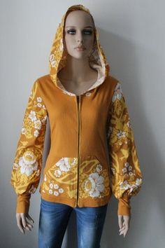 Yellow Hoodie made from a beautiful Amy Butler fabric by yanay on Etsy Amy Butler Fabric, Yellow Hoodie, Made Clothing, Bomber Jacket, Etsy, Vintage, Hoodies, Handmade, Clothes