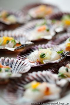 Ceviche served in scallop shells make the perfect summer bite. #wedding #appetizers