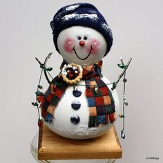 Snowman Gourd Christmas Holiday Hand Painted Decoration
