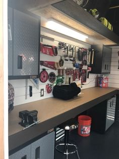 What a workbench! Decked out with every tool you need and all neatly organized with a custom pegboard. Wouldn't this workbench be perfect for your DIY project list? Don't forget the storage loft and cabinets! Diy Storage Shed Plans, Storage Building Plans, Small Shed Plans, Deck Building Plans, 10x12 Shed Plans, Wood Shed Plans, Free Shed Plans, Building A Shed, Barn Plans