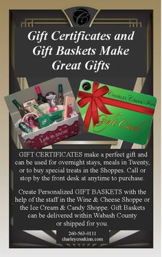 Gift Baskets and Gift Certificates Make Great Gifts!!