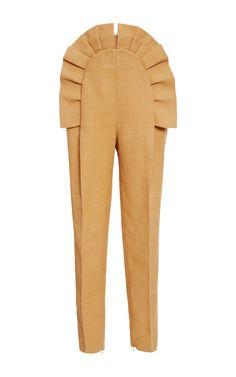 Ruffled Pleated Pants by DELPOZO Now Available on Moda Operandi