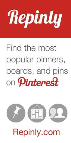 Find the most popular pinners, boards, and pins on Pinterest. Get clear overview and stats on what is trending now in different categories. repinly.com...