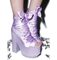 IF ONLY IT WASN'T A PEEP TOE!!! DX---Y.R.U. X Dolls Kill Ballet Bae Satin Platforms