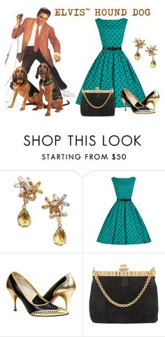 """Elvis Hound Dog 1956"" by sjlew ❤ liked on Polyvore featuring House of Lavande and Cartier"