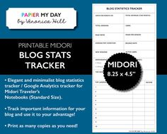 This printable #Midori Traveler's Notebook #Blog Statistics / Google Analytics Tracker contains all of the essential information you'll need for analyzing your website or blog and using this data to build success. Use each printable to track the previous month's data, income, top videos, demographics, watch time and other important facts. All of this information is available in your Google Analytics account. Also in #Filofax A5 and personal sizes.  #KikkiK #MTN #planner #planners