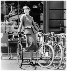 Model in suit with large flap pockets by Pierre Cardin,Paris, 1961 PhotoWilly Maywald