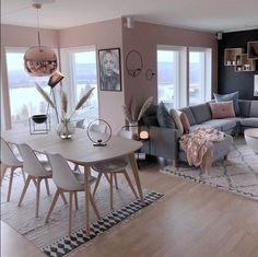 ideas for DIY kitchen apartment decor sala de jantar - Wohnkultur Wohnung - Living Room Grey, Home Living Room, Apartment Living, Apartment Kitchen, Blush Pink Living Room, Blush Grey Copper Living Room, Living Room Decor For Apartments, Pink Living Room Paint, Dining Living Room Combo