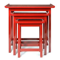 Get the Look: Collections Inspired by LCDQ's Storytelling by Design- Red Chow Nesting Table, a set of three for Chow or laptop. Red lacquer with black finish. From Downtown.