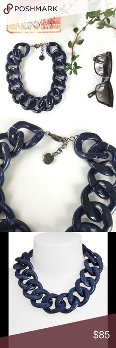 """Pono 'Ana Moon Beam' Sapphire Resin Link Choker Never worn navy (Sapphire) resin link and silver-plate necklace by Pono by Joan Goodman. Shiny on one side, matte crosshatch on the other; navy blue links with silvery metallic variegation. Links measure 2"""" by 1.5"""" each. Necklace measures 18"""" - 20"""". A few links have slight separation at seams, as shown. Pono Jewelry Necklaces"""