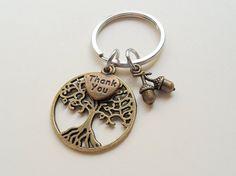 Bronze Tree, Thank You, and Seeds Charm Teacher Appreciation Keychain – JewelryEveryday