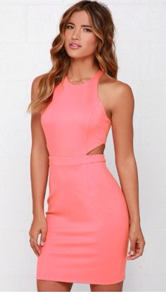 Serves You Bright Coral Pink Dress $79 lulus.com