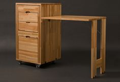 Interesting small office solution.  The desk and chair both store inside the footprint of the filing cabinet.