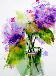 Hydrangea Watercolor Art Print by PamelaHarnoisArt on Etsy, $35.00