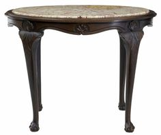 OnlineGalleries.com - 19TH CENTURY FRENCH OAK MARBLE TOP CENTER TABLE